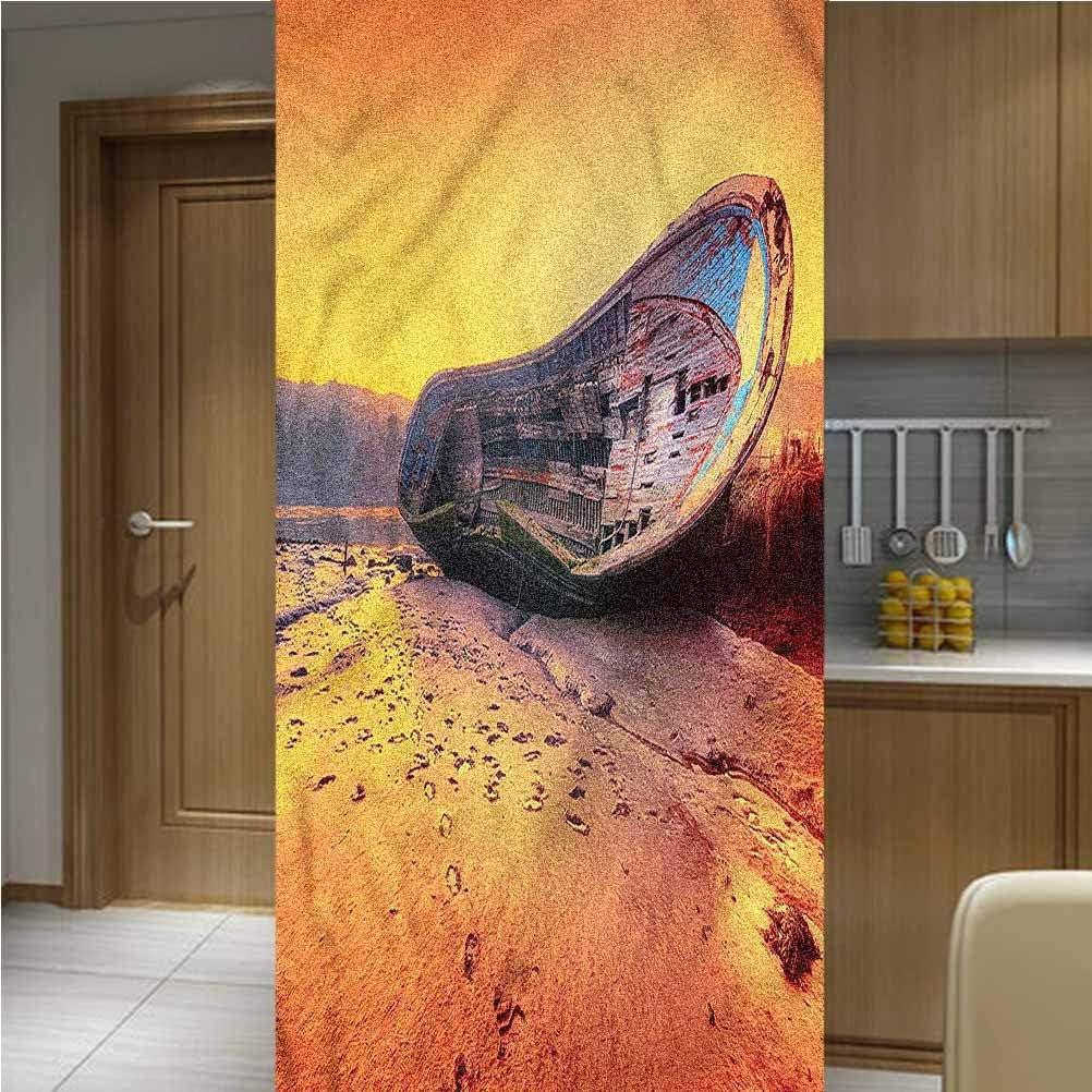 "LCGGDB Shipwreck ONE Piece Privacy Decorative Window Film Window Decols,Rusty Abandoned Boat Vinyl 3D Window Decals Window Stickers Window Film,35.6""x78.7"",for Glass Door Home Heat Control Anti UV"