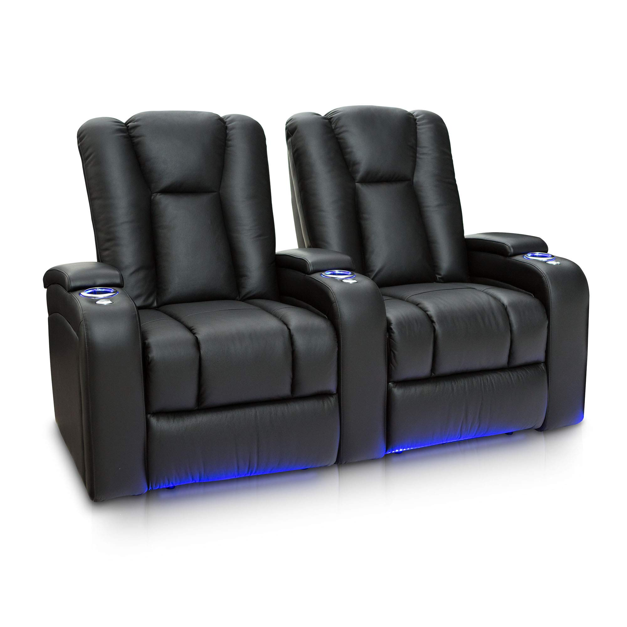 Seatcraft Serenity Leather Home Theater Seating Power Recline with in-Arm Storage, Lighted Cup Holders, and Ambient Base (Row of 2, Black) by Seatcraft