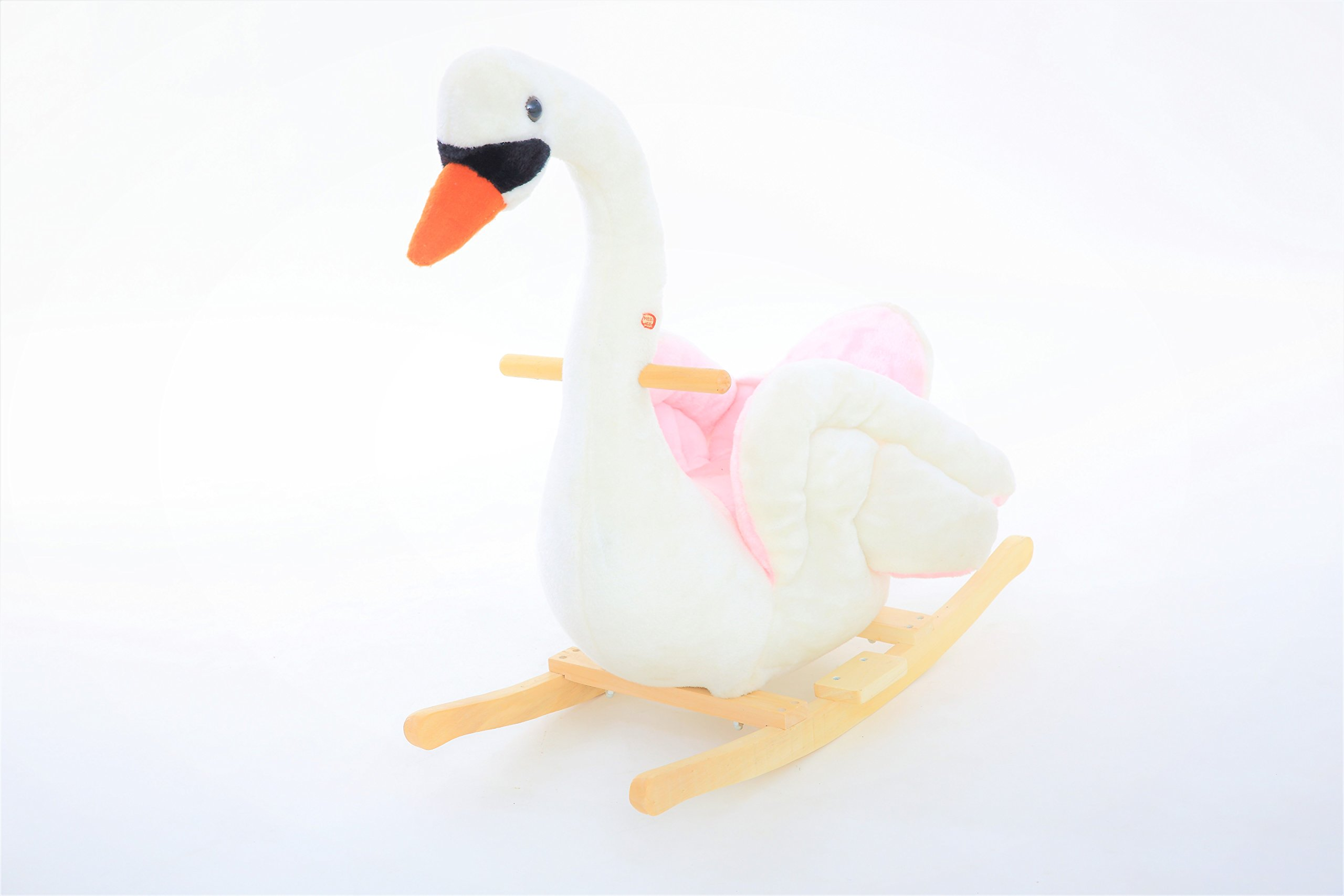 DanyBaby Ultra Soft Musical Rocking Animal Ride On Rocking Plush Swan Chair ASTM Safety Approved