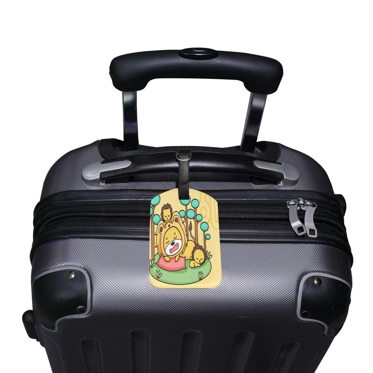 Saobao Travel Luggage Tag Leo PU Leather Baggage Suitcase Travel ID Bag Tag 1Pcs
