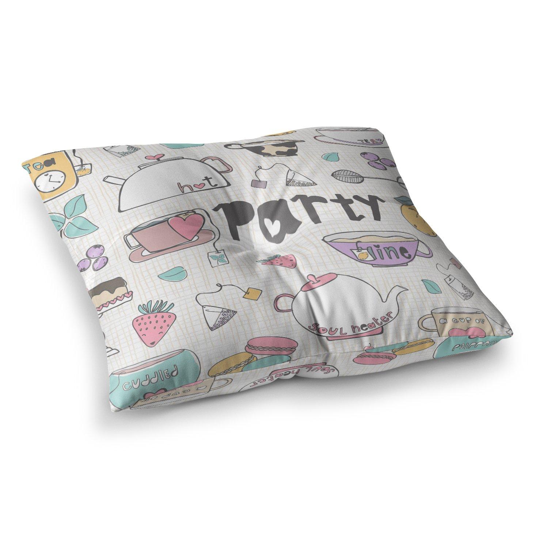 Kess InHouse MaJoBV Tea Party White Multicolor 26 x 26 Square Floor Pillow