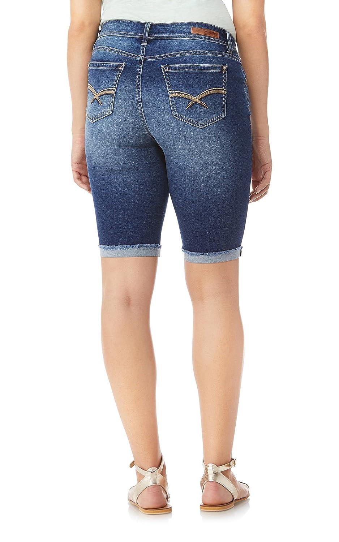 WallFlower Womens Juniors InstaSoft Distressed Bermuda Denim Shorts