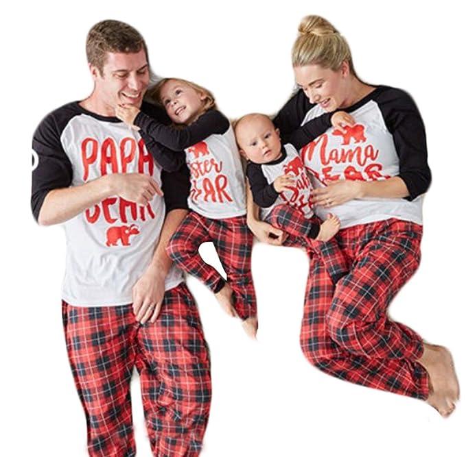 Papa Mama Kids Baby Bear Plaid Family Matching Christmas Pajamas Sleepwear  Nightwear Homewear Sets for The 9d148b8f0