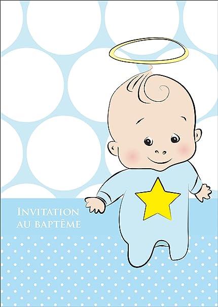 Carte D Invitation En Bleu Pour Le Bapteme Garcon Avec Bebe