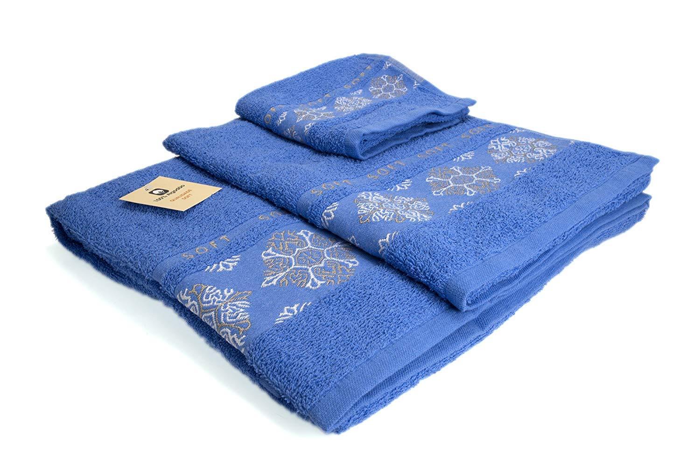(SOFT AZUL) REGALITOSTV Juego de toallas de baño 3 piezas (1 toalla baño, 1 toalla de manos y 1 toalla cara) 100% algodón, calidad 500g, varios colores, ...