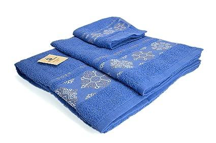 (SOFT AZUL) REGALITOSTV Juego de toallas de baño 3 piezas (1 toalla baño