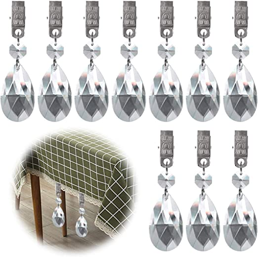 Keadic 10Pcs Cucurbit Tablecloth Weights Crystal Glass Teardrop Prisms Pendant Tablecloth Weights Kit with Metal Clip Perfect for Heavy Outdoor Garden Party Picnic Tablecloths