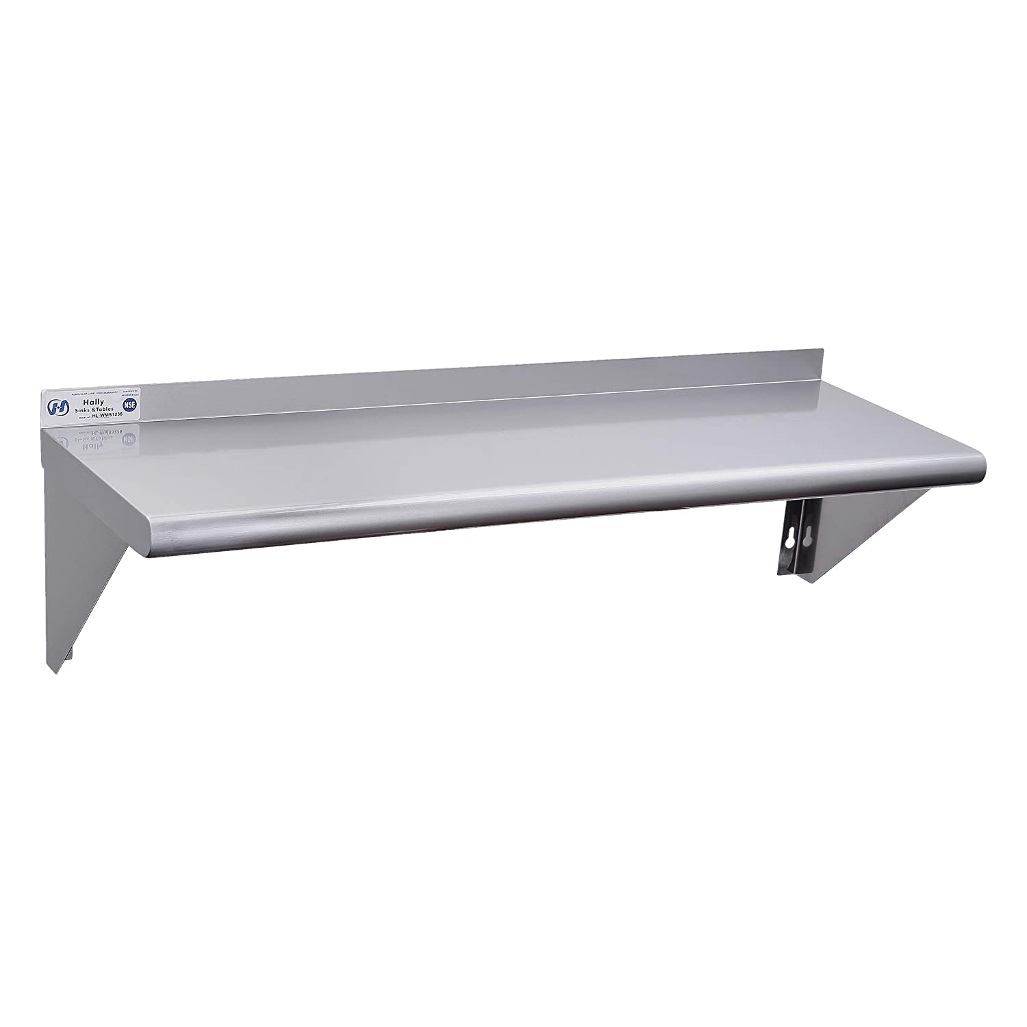 Stainless Steel Shelf 18 x 36 Inches, 350 lb, Commercial NSF Wall Mount Floating Shelving for Restaurant, Kitchen, Home and Hotel