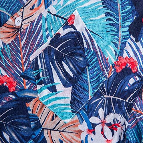 Bleu Courtes Hawaienne Chemise Manches Youthny En Plage Imprimé Homme Coton xBzwqWS4C