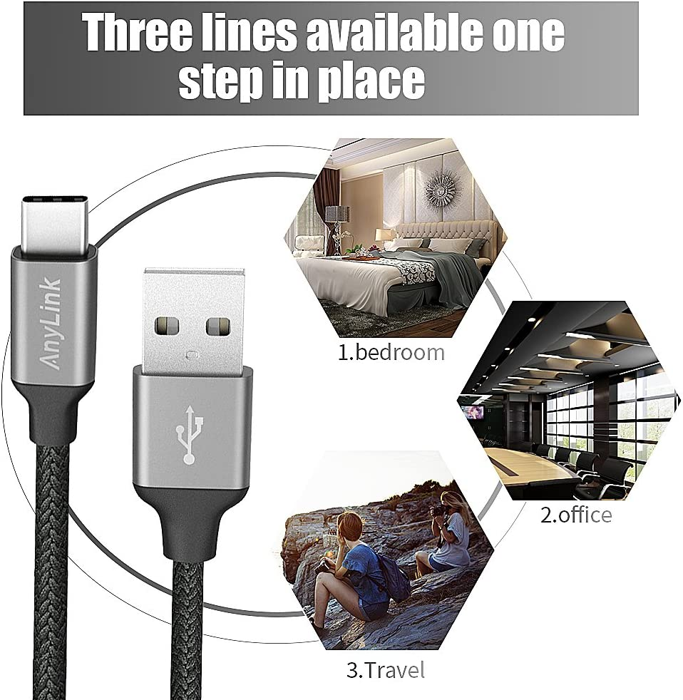 Nylon Braided for Samsung Galaxy S8 Google Pixel 3 Piece HTC 10 and More Assorted Lengths Lg G5 G6 AnyLink max Xi-68-Cable USB Type C Cable Nexus 6P 5X