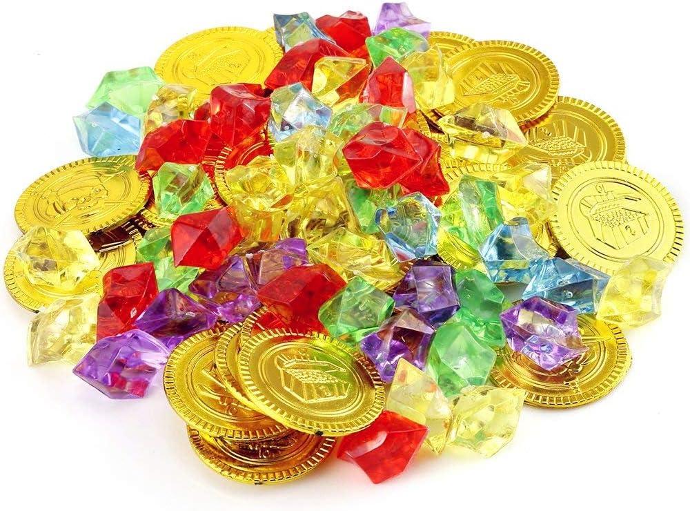 BJ-SHOP Moneda de Oro de plastico, Tesoro Pirata Gemas 50 Piezas de Monedas de Oro + 50 Piezas de Diamantes de acrílico Joyas de Tesoro Pirata para niños Pirata temática de Fiesta