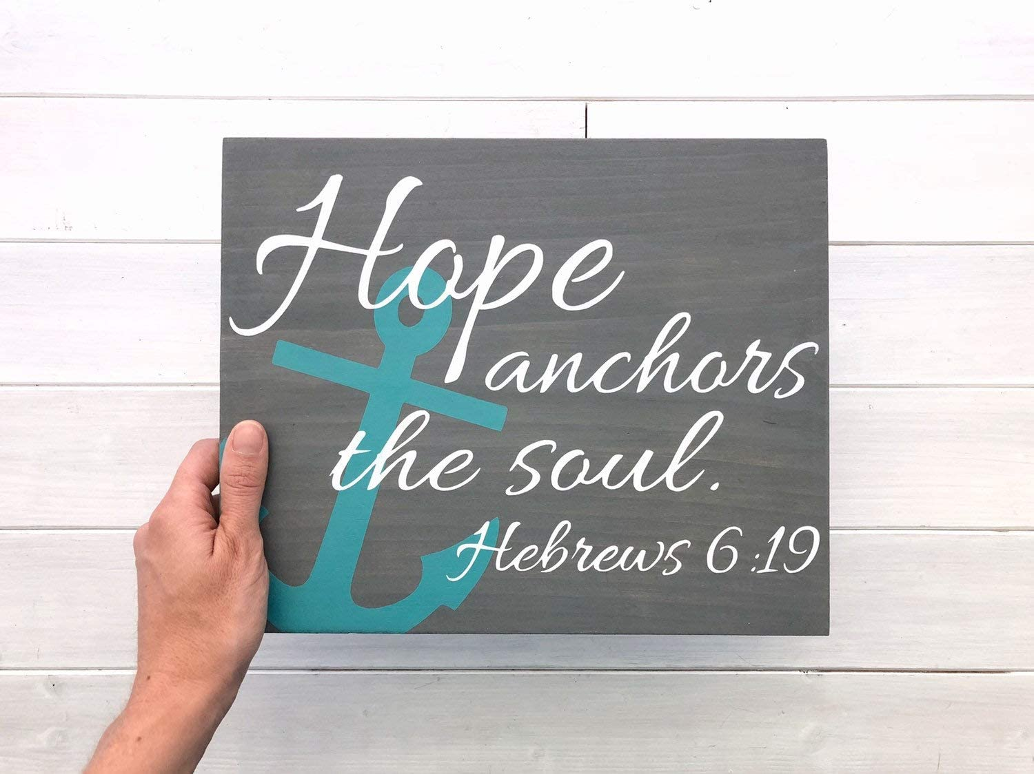 Wall Art Hope Anchors The Soul Sign | Hebrews 6:19 | Anchor Decor | Nautical Decor | Nautical Nursery | Lake Signs | Nautical Signs | Beach Decor Wood Plaque, Custom Gift