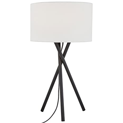 Incroyable Rivet Black Metal Tripod Table Lamp, 26.5u0026quot;H, With Bulb, Linen Shade