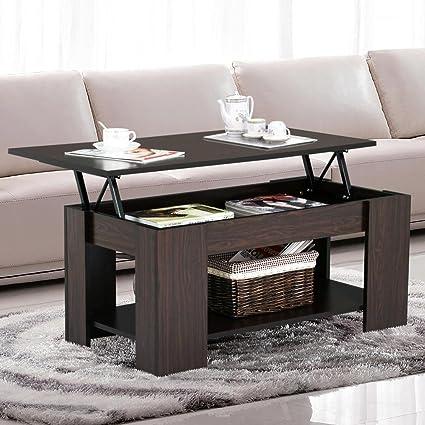 Go2buy Modern Lift Top Tea Coffee Table W Hidden Storage Compartment Under Shelf Espresso