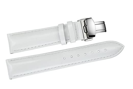 d56eb54a7 12mm Women's White Narrow Patent Leather Watch Bands / Straps Replacements  for Small Faces Deployment Clasp