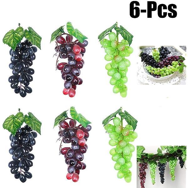 Justdolife Uvas Artificiales Decorativas Frutas Falsas ...
