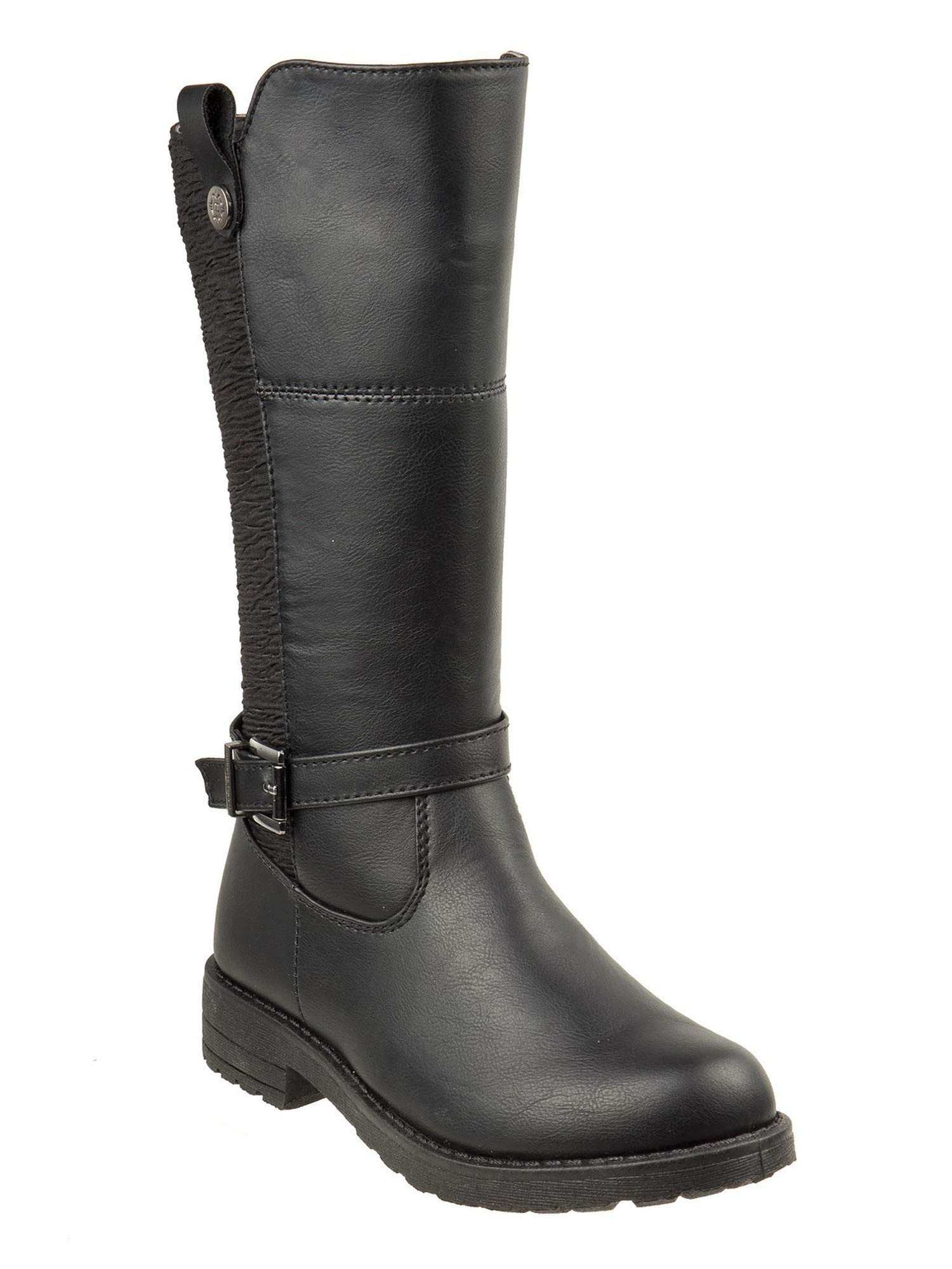 Nanette Lepore Girls Black Buckle Ankle Strap Side Zip Tall Boots 13 Kids