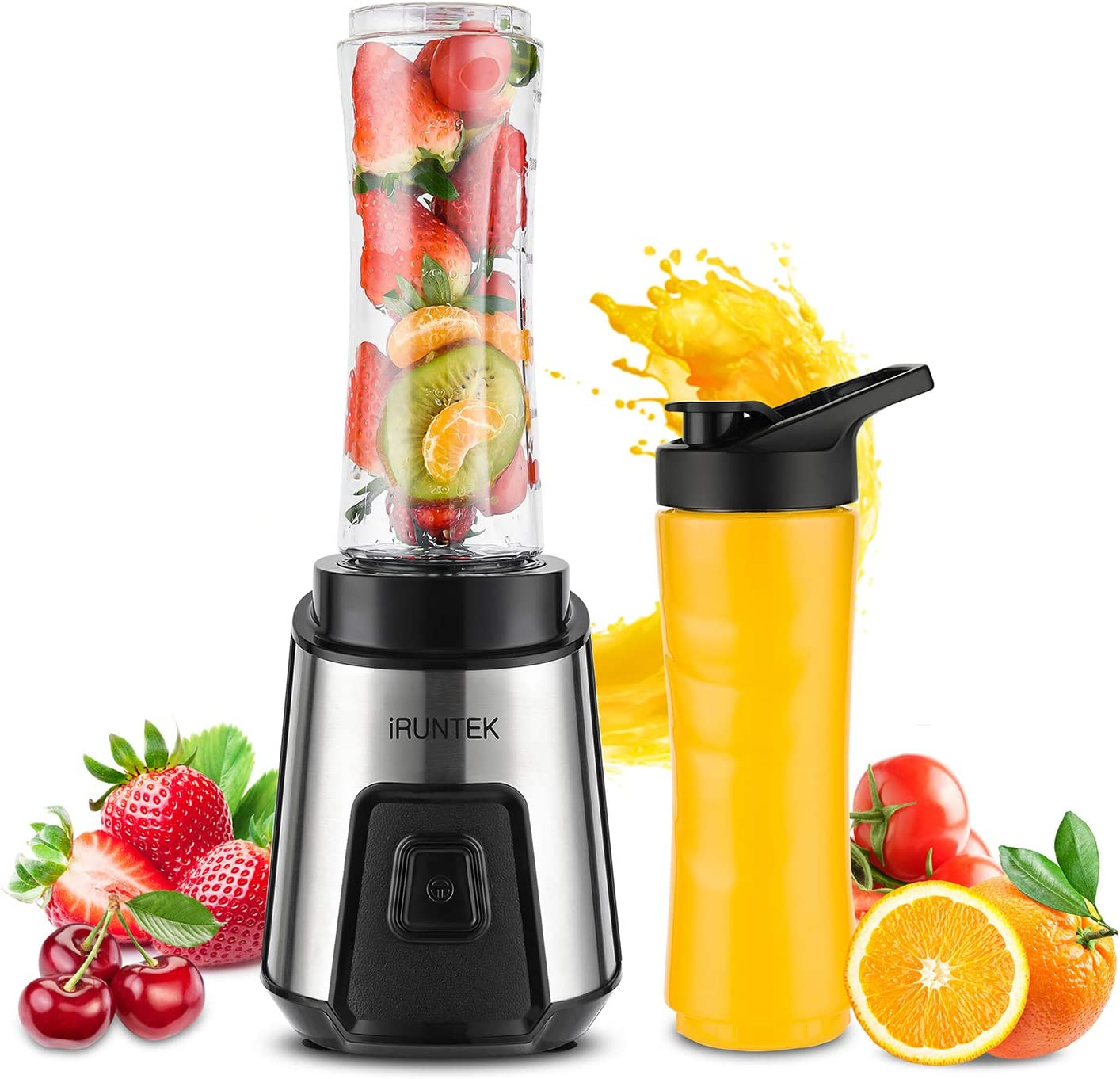 iRUNTEK Personal Blender for Shakes and Smoothies, Small Countertop Blender for Kitchen, Food Processer for juice, jam, milkshake with 250 -Watt Stainless Steel Base and 20-Ounce BPA Free Tritan Cup with Travel Spout Lid