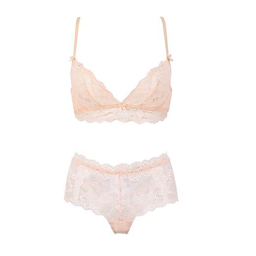 2511413afb Varsbaby Women s Sexy See Through Transparent Push up Bra Sheer Underwear  Sets