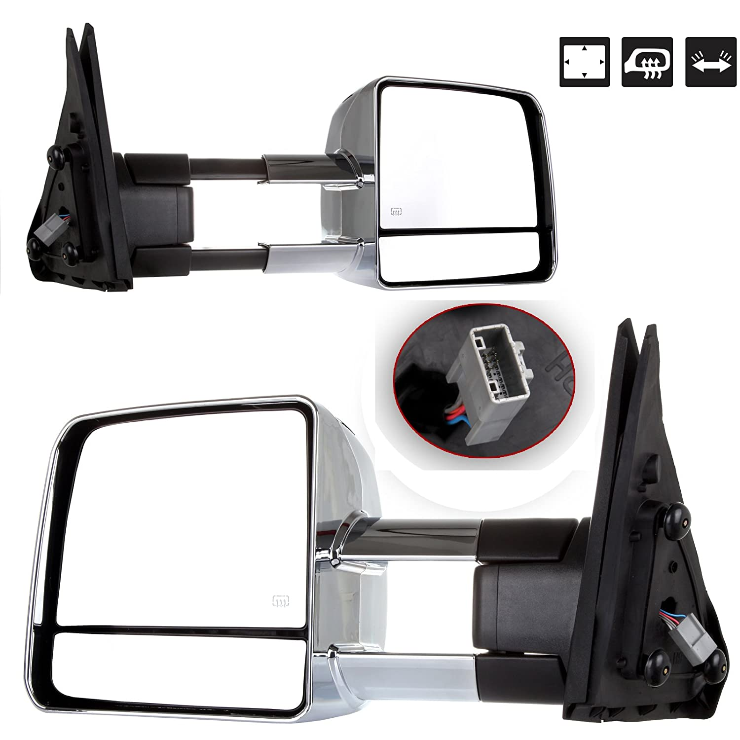 For Toyota Automotive Exterior Mirrors by ECCPP Towing Mirrros Replacement fit for 2007-2014 Tundra with Power Adjusted for Main Mirror-Heated-Amber Signal-Pair 065033-5211-1652061