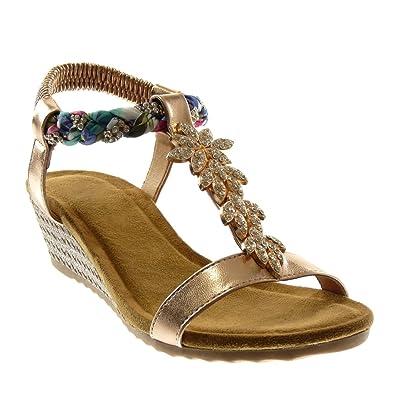 Angkorly Damen Schuhe Sandalen - T-Spange - Strass - Geflochten - Fantasy Keilabsatz High Heel 4.5 cm - Gold WH872 T 39 W42pND0