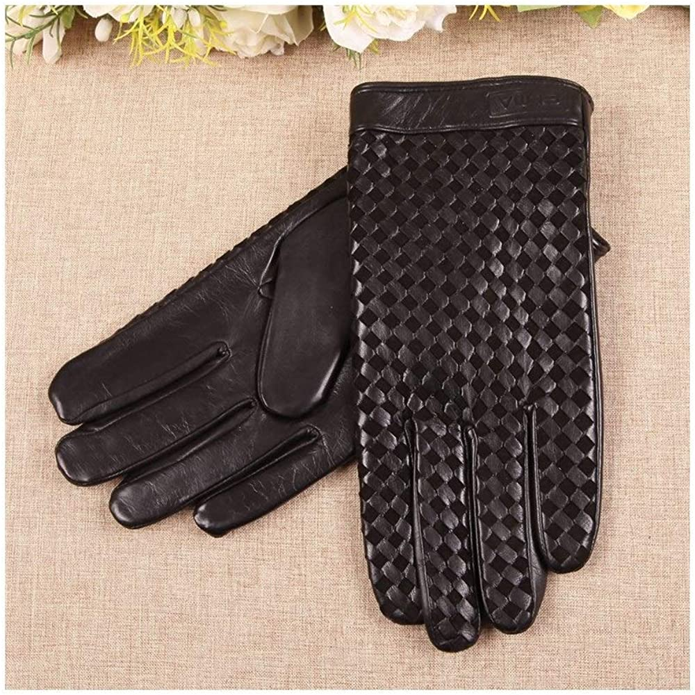 Leather Gloves Mens Leather Gloves Plaid Warm Woven Winter Driving Gloves Color : Black, Size : S