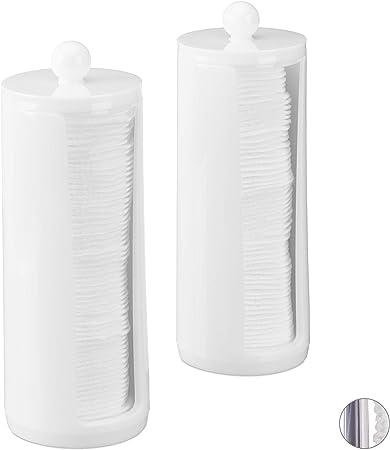 Relaxdays, Blanco, 20 x 7 cm Pack de 2 Dispensadores Algodón con Tapa, Acrílico: Amazon.es: Hogar