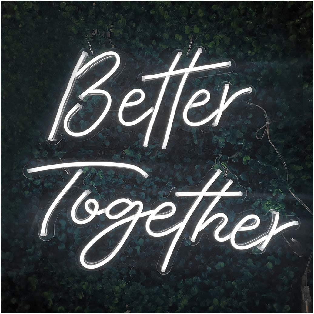 Britrio LED Neon Light Sign, Better Together Hanging Neon Art Wall Sign for Wedding Backdrop Home Decor Kid Bedroom Bar 12V Cold White(Power Adapter Include)