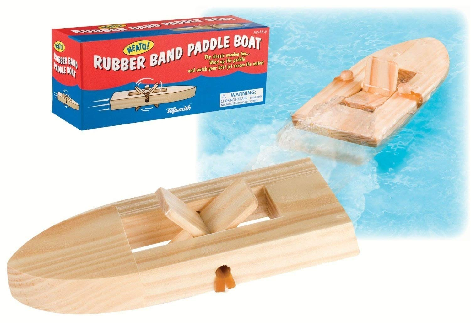 Toysmith Rubber Band Paddle Boat (4-Pack)