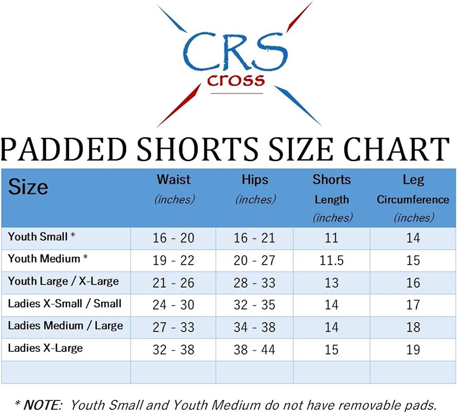 CRS Cross Padded Figure Skating Shorts Youth Crash Butt Pads for Hips Tailbone /& Butt