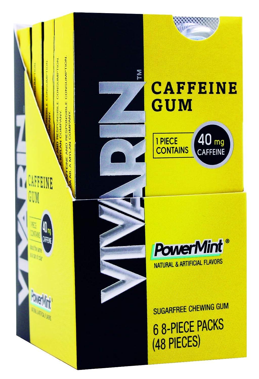 Vivarin Caffeine Gum, 8 Pieces, Sugarfree Chewing Gum, 6 Count