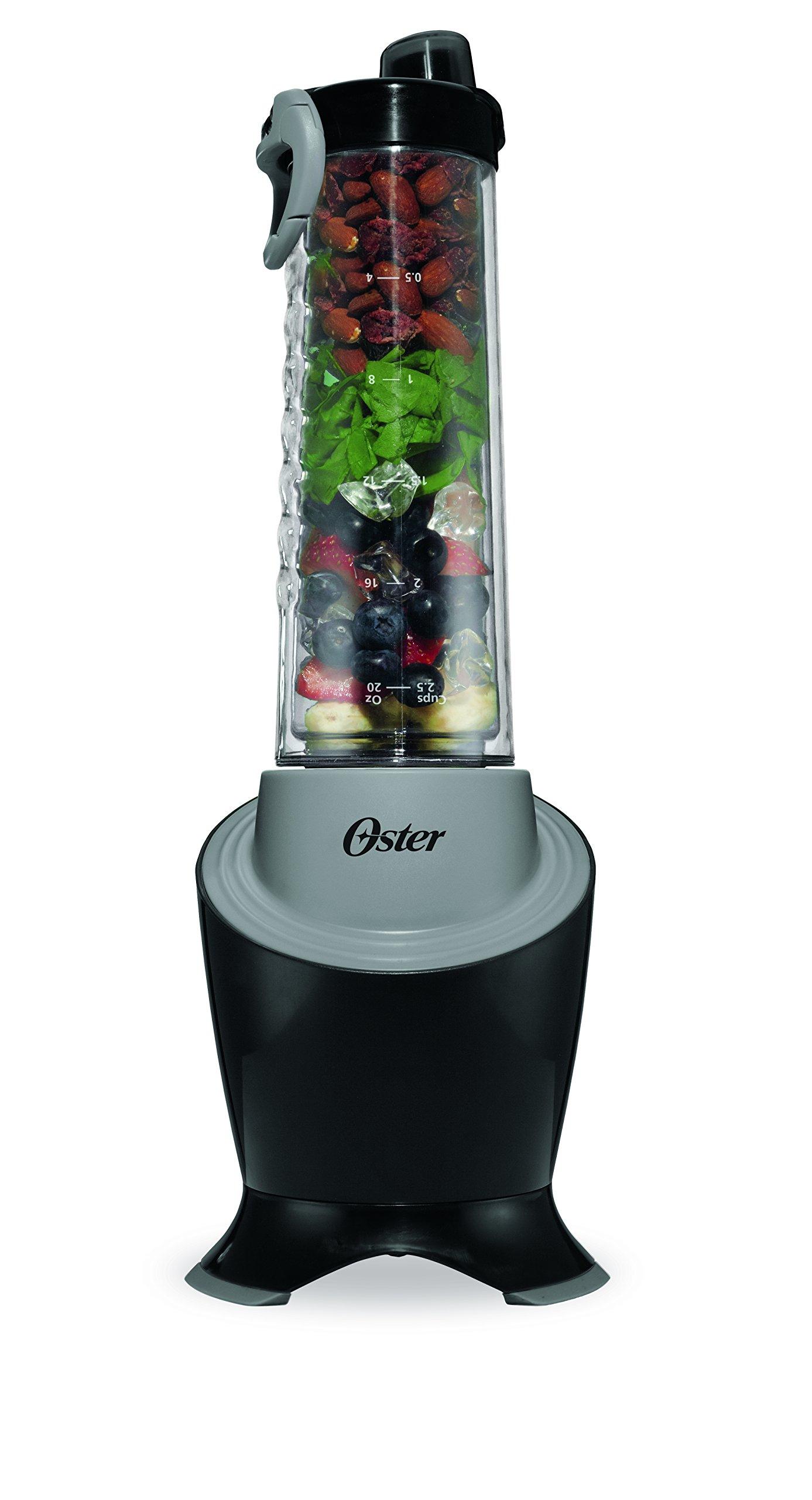 Oster MyBlend Pro Series Personal Blender with Condensation Free Bottle, Travel Clip and 4 Reusable Straws, Black/Grey, BLSTPB2-BGR