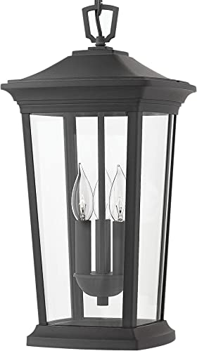 Hinkley 2362MB 2362MB-LL Bromley-19.25 15W 3 Outdoor Large Hanging Lantern, Finish with Clear Glass, 19.25×10.00×10.00, Museum Black LED