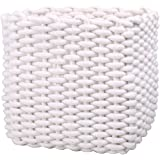 White Cotton Rope Basket for Towels,Diapers,Toys Storage|Baby Storage Basket for Nursery Kid's Room|Decorative Gift Woven Basket for Laundry,Blanket Storage