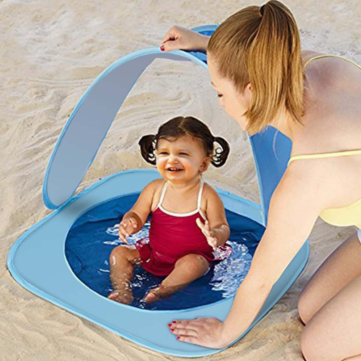 HAOCOO Baby Beach Tent, Pop Up Portable Baby Pool Tent 50 SPF UV Protection Sun Shelter Canopy with Carrying Bag Best Pool Toys Gifts for Infant