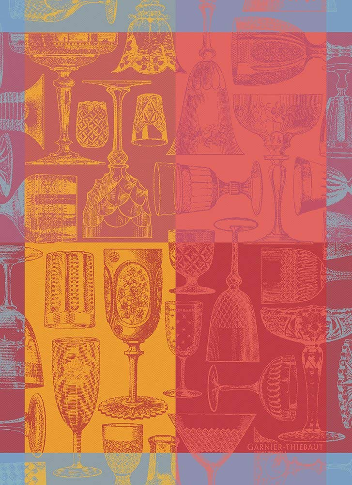 Garnier-Thiebaut, Verres et Couleurs, Red (Glasses & Colors) French Jacquard Kitchen/Tea Towel, 100 Percent Cotton