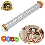 Stainless Steel Rolling Pin- French Style with Removable Adjustable Thickness Rings for Baking Dough, Pizza Pie, Pastries, Pasta and Cookies - Multicolored