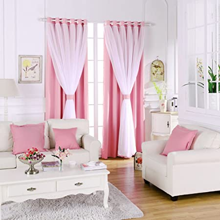 Blackout Bedroom Window Curtains with Sheer,Thermal Insulated Solid ...