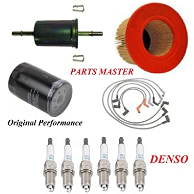 8USAUTO Tune Up Kit Air Oil Fuel Filters Wire Spark Plug Fit FORD E-150 ECONOLINE V6 4.2L 2001-2002: Automotive