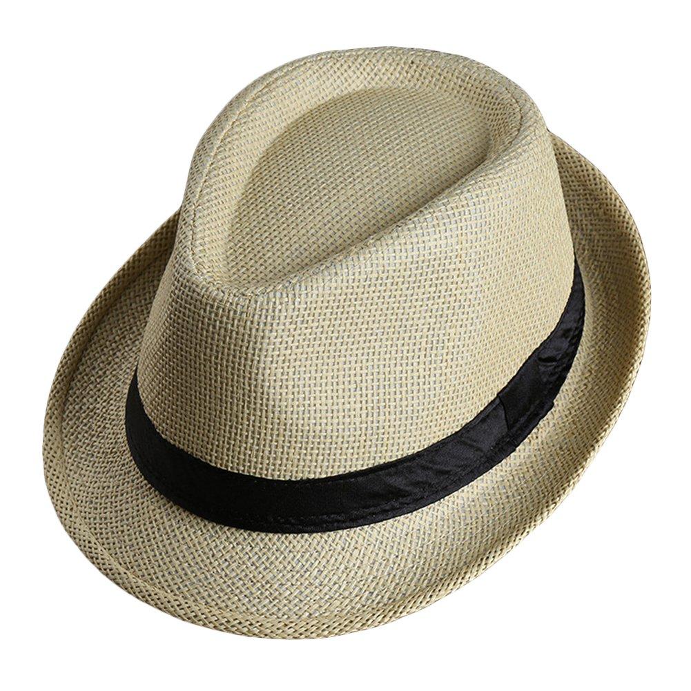 LOCOMO Men Women Straw Trilby Hat Fedora Short Upturn Brim FFH391BE1