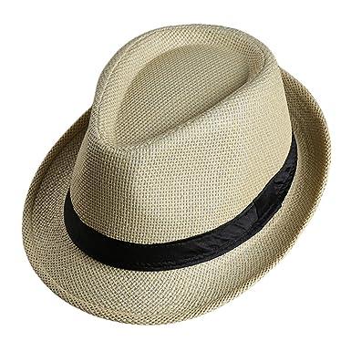 53b41339617 LOCOMO Men Women Straw Trilby Hat Fedora Short Upturn Brim FFH391BE1 ...