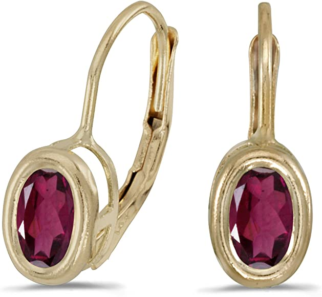 14k Yellow Gold Oval Rhodolite Garnet Bezel Lever-back Earrings