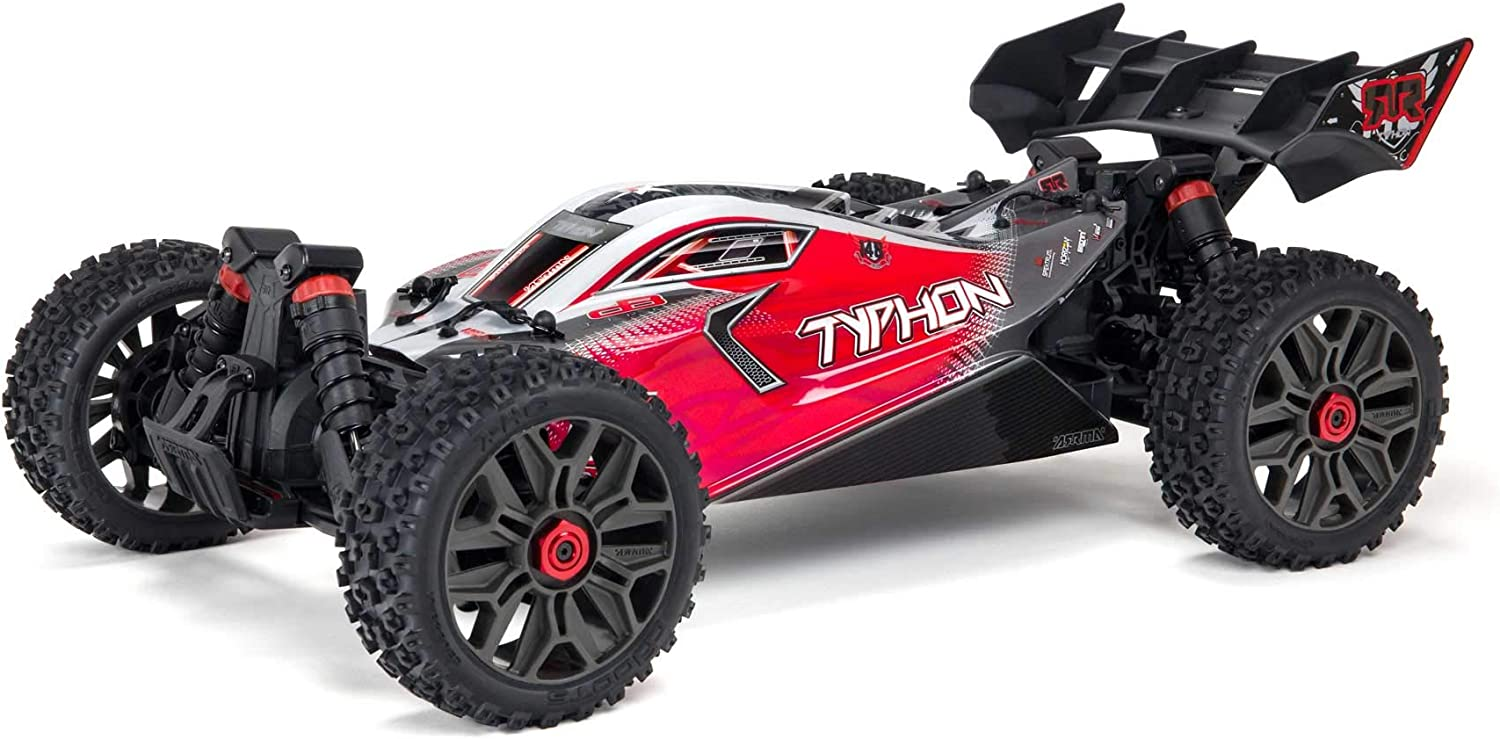 Amazon Com Arrma 1 8 Typhon 4x4 V3 3s Blx Brushless Buggy Rc Truck Rtr Transmitter And Receiver Included Batteries And Charger Required Red Ara4306v3 Toys Games
