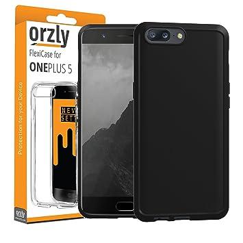 ORZLY® Funda para el OnePlus 5, FlexiCase OnePlus 5 – Carcasa Flexible Negra [Diseño Delgado] Protección [Anti-Arañazos] para el Nuevo Oneplus 5 2017
