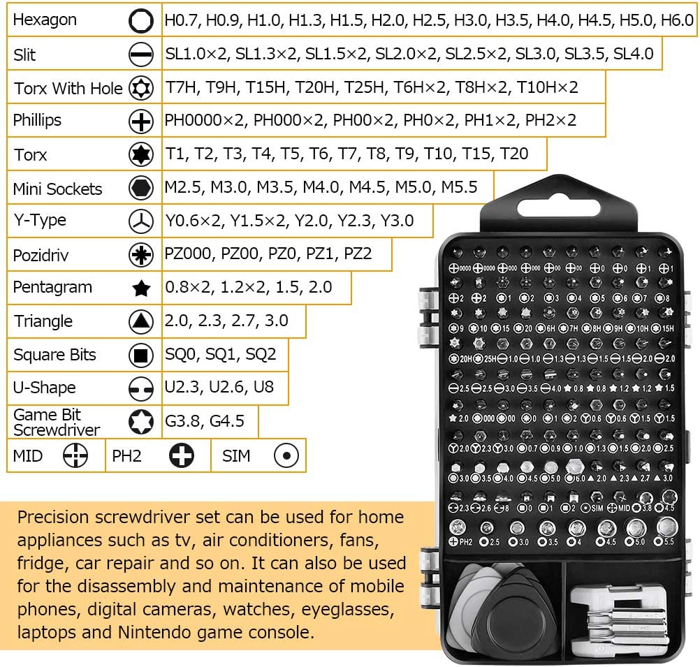 Laptop SACONELL Multi-Funtion Magnetic Screwdriver Bit Sets Repair Tool Kit for Mobile Phone 122 in 1 Mini Precision Screwdriver Set Digital Camera Computer