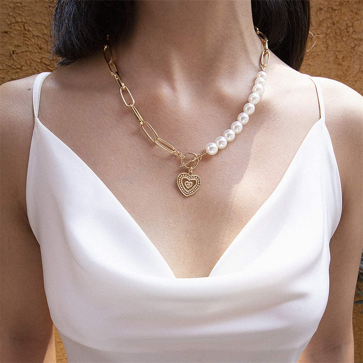Ingemark Statement Cool Punk Chunky Chain Toggle Necklace for Women Girls Heart Shaped Photo Locket Pendant Layered Pearl Choker Necklace