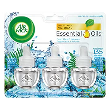Air Wick Scented Oil 3 Refills, Fresh Waters, (3X0.67oz),