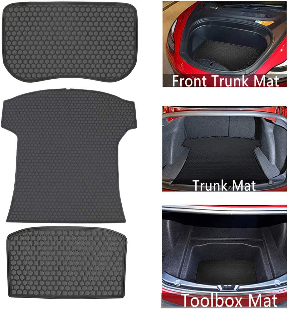 San Auto Cargo Liners Custom Fit for Tesla Model 3 2017 2018 2019 2020 Front and Rear Trunk Mats Full Black Rubber Waterproof All Weather Protector Heavy Duty Odorless