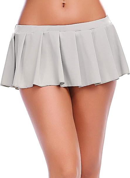 Avidlove - Mini Falda Plisada con Volantes para Mujer - Gris ...