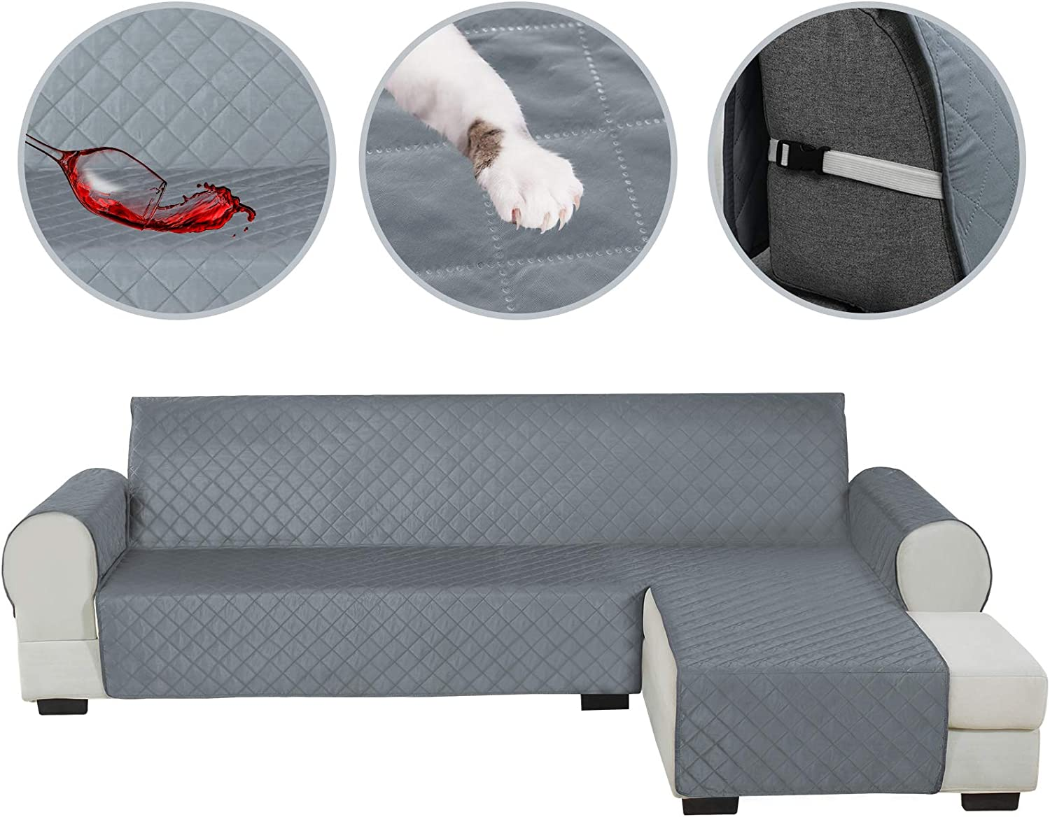 HDCAXKJ Sectional Couch Covers for Dogs Water Resistant L Shape Sofa Cover Pet Friendly Sectional Slipcovers Living Room Reversible Non Slip Furniture Protector with Straps Washable (Gray, Small)